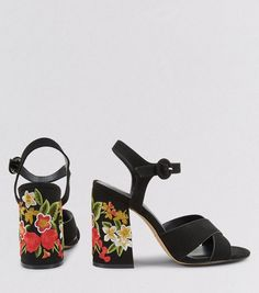 Black Suedette Floral Embroidered Flared Heels | New Look