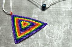 Rainbow Beaded Triangle Necklace Made to by ThreeFatesDesign