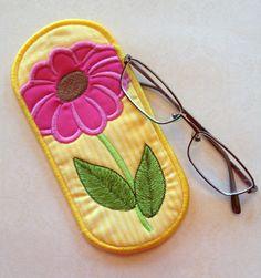 Flower Eyeglass Case designed by EmbroideryGarden.com
