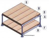 Bouwtekening met stappenplan om salotafels te maken met steigerbuis en buisverbinders.