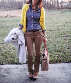 I love everything about this outfit. The texture of the pants with the button down and the pop of color. I need a job so I have an excuse to buy nice clothes.