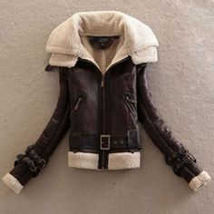 Winter Womens Coat Thick Faux Fur Lining Buckles Belted Faux Leather Cool Jacket #NEW #fashion