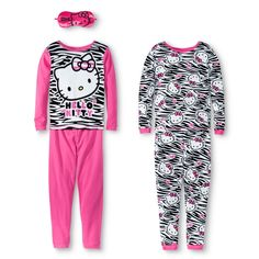 Hello Kitty Girls' 4-Piece Long Sleeve Pajama Set w/ Eyemask