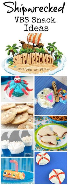 Shipwrecked Vbs Snack Ideas Southern Made Simple - Be Sure To Also Swing By My Other Shipwrecked Vbs Themed Pages To Find Even More Inspiration To Make Your Event Truly Spectacular Here Are Just A Few Ideas Of Some Fun And Festive Snack Ideas That Al Bible School Snacks, Sunday School Snacks, Bible School Crafts, Sunday School Crafts, Preschool Snacks, Bible Crafts, Ocean Theme Snacks, Ocean Themed Food, Vbs Themes