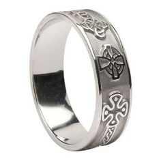 Amazon.com: Mens Celtic Cross Ring-14k White Gold-Made in Ireland: Jewelry