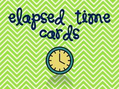 FREE These colorful cards would be a great resource to practice elapsed time! This set includes 16 start and stop cards.  Students could use a clock manipulative or a number line to find the time that has elapsed from the start time to the end time.  These cards would be great for small group or in a math center.