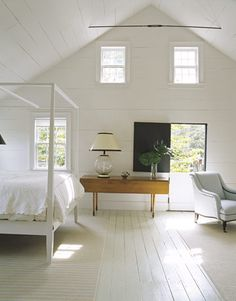 Suite des maîtres en blanc avec plafond cathédrale style A-Frame
