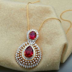 Be the star of the party with this stylish and classy ruby stone pendant Gold Earrings Designs, Gold Jewellery Design, Diamond Pendant, Pearl Pendant, Beaded Jewelry, Pendant Jewelry, Wedding Jewelry, Ruby Stone, Anarkali Dress