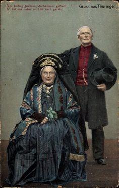 Ansichtskarte / Postkarte Gruß aus Thüringen, Altes Paar in thüringer Trachten