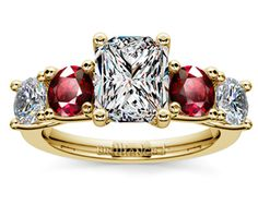 Radiant Trellis Ruby and Diamond Gemstone Engagement Ring in Yellow Gold  http://www.brilliance.com/engagement-rings/trellis-ruby-diamond-gemstone-ring-yellow-gold
