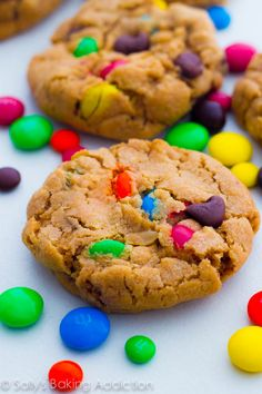 A cookie jar favorite - super soft monster cookies with peanut butter, M+Ms, and chocolate chips!