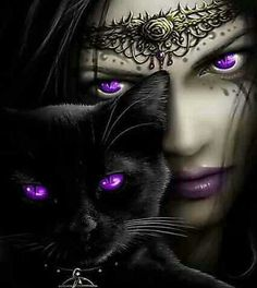 purple eyes sorceress and cat familiar