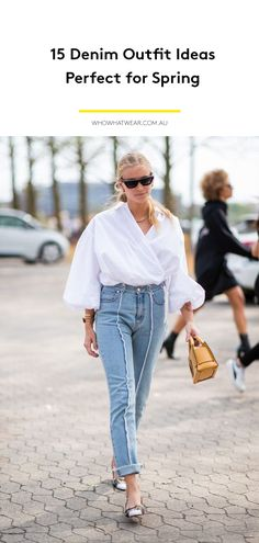 If you're looking for a new go-to outfit to wear with your favorite jeans, check out these denim looks fashion girls love. Blue Jean Outfits, Girl Fashion, Fashion Outfits, Denim Outfit, Spring Outfits, Blue Jeans, Mom Jeans, Outfit Ideas, Street Style