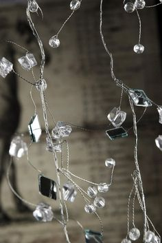 Crystal Mirror Garland 8 Feet $6 each / 6 for $5 each-has crystal beads, sq mirrors. use around long bureau, get 12 mirror for under bell jar. garland has many sizes,styles,uses