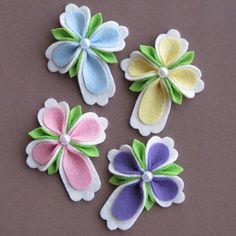 4 pc. Felt Christian Easter Cross Hair Clip/Pin Brooch Set. by Dogwood Corner on Opensky