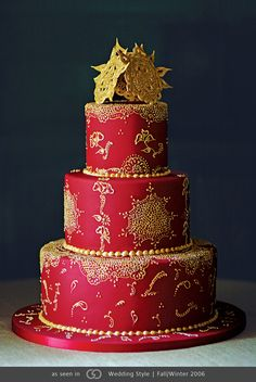 red indian cake henna design wedding photo