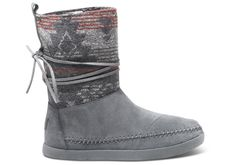 Grey Suede Jacquard Women's Nepal Boots TOMS Soooooo cute!!!!! kind of like uggs but with the aztec print, and a different style SO CUTE!!! would LOVE these as a gift!!!