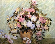 VINCENT VAN GOGH. Still Life Vase with Roses, 1890, oil on canvas.