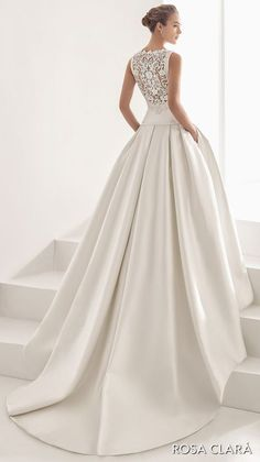 rosa clara 2017 bridal sleeveless bateau neckline simple clean drop waist ball g., rosa clara 2017 bridal sleeveless bateau neckline simple clean drop waist ball gown wedding dress with pockets cover lace back chapel train (nao) bv -. Wedding Gown Ballgown, Bridal Gowns, 2017 Bridal, Ball Dresses, Nice Dresses, Ball Gowns, Dresses Dresses, Princess Bridal, Princess Wedding Dresses
