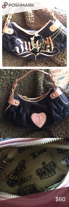Juicy Couture Purple Velvet Bag Super girly purple velvet bag with pink leather trim from Juicy.  Has a fun ring and chain added to the front for detail.  Fantastic condition. Juicy Couture Bags Shoulder Bags