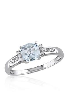 Belk  Co. Blue Sterling Silver Aquamarine and Diamond Ring