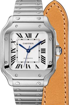 Santos de Cartier watchMedium model, automatic, steel, two interchangeable straps