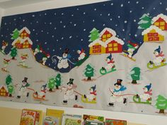 Winter bulletin board snow scene using childrens – Artofit Preschool Arts And Crafts, Preschool Christmas, Christmas Art, Christmas Bulletin Boards, Winter Bulletin Boards, Office Christmas Decorations, School Decorations, Winter Art Projects, Theme Noel