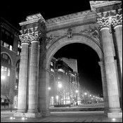 Framed Black and White prints of  The Union Station Arch in the Arena District