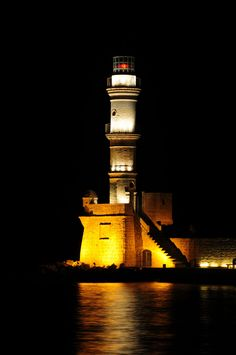 The lighthouse at Chania, Crete old harbor