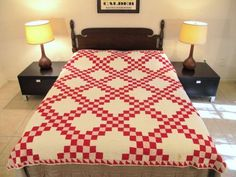 Vintage-TRULY-OLD-Hand-Sewn-100-Cotton-DOUBLE-IRISH-CHAIN-Red-White-QUILT
