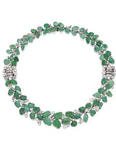 Platinum, Emerald and Diamond Necklace-Bracelet Combination, France, Circa 1930 | Sotheby's Important Jewels, New York