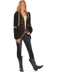 Red Ranch Women's Embroidered Gauzy Black Cardigan