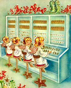 Vintage Christmas card, I can remember my grandmother taking me to work with her to the assessors office in the Jackson County court house in KCMO, where she worked a switchboard just like this, she would let me work the switchboard with her. Awesome memories :) I miss my Grandmother Edith Arnone