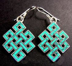 Turquoise Endless Knot Earrings Handmade Tibetan Stirling Silver Earrings Brief Tribal Earrings, Beaded Earrings, Earrings Handmade, Jewellery Earrings, Drop Earrings, Metal Jewelry, Body Jewelry, Tibetan Jewelry, Bar Necklace