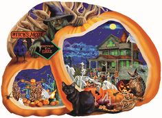 SunsOut: Enter if You Dare Jigsaw Puzzle. Shaped puzzle, approximately 1000 pieces, x inches, Art by Mary Thompson. Approximately 1000 pieces. Art by Mary Thompson. Halloween Artwork, Halloween Themes, Halloween Decorations, Puzzle 1000, Puzzle Art, Puzzle Toys, Sunsout Puzzles, Shape Puzzles, Fun Activities