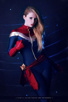 Character: Captain Marvel (Carol Danvers) / From: MARVEL Comics 'Captain Marvel' / Cosplayer: Florencia Muir (aka Florencia Sofen, aka Clint and Jillian Cosplay & Photography, aka WhiteLemon) Marvel Cosplay, Superhero Cosplay, Cosplay Outfits, Cosplay Girls, Cosplay Costumes, Cosplay Ideas, Marvel Comic Character, Marvel Movies, Marvel Marvel