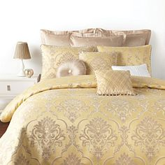 Splendid tradition: this Waterford bedskirt flaunts a finely woven classic damask design in shades of ivory and taupe on a golden straw sateen ground. The reverse boasts a woven jacquard scroll pattern, trimmed with fancy multicolor twist cord. Waterford Bedding, Damask Bedding, Sophisticated Bedroom, Master Bedroom Makeover, Luxury Bedding Collections, Queen Duvet, Home Projects, Home Remodeling, Duvet Covers