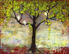 Owl Decor Tree 12X16 Print by blendastudio on Etsy