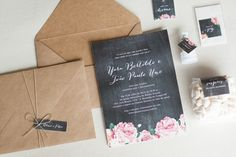 Convite de casamento craft com inspiração em lousa. Simples e criativo!