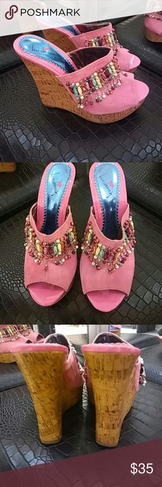 Luichiny Bohemian Pink Suede Wedges Size 7 Adorable!!! NWOT. Bohemian Luichiny Pink Suede Wedges Size 7. Memor Eez. Different color beads. Laminated cork wedge heel. 💘 💘.. 5 inch heels Luichiny Shoes Wedges