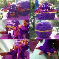Baby Spyro with egg and removable diaper in crochet