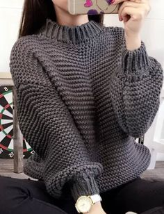 Turtleneck Thick Crochet Pullover Loose Sweater - Solid Thick Crochet Pullover Loose Short Sweater Source by thebrokenbird - Loose Shorts, Loose Sweater, Sweater And Shorts, Crochet Shirt, Knit Crochet, Crochet Sweaters, Poncho Style, Fleece Pullover, Pullover Sweaters