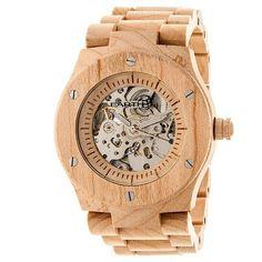 Earth Wood Men's Grand Mesa Automatic Eco - Friendly Sustainable Wood Bracelet Watch - Khaki