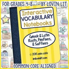 This Interactive Vocabulary Notebook is full of dynamic activities for teaching Greek and Latin roots, prefixes, and suffixes.