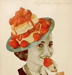 Print of Original Paper Collage Strawberry Girl Food by frighten, $25.00