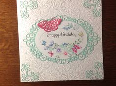 Birthday card created with Sweet Dixie Intricate Ovals, Tonic corner dies and Tattered Lace butterfly.