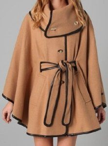 Stunning Authentic RACHEL ZOE Wrap Wool and Leather CAPE JACKET COAT (M/L) TAN