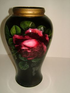 Edwardian Reverse Painted Glass Vase Decorated by BiminiCricket, $85.00