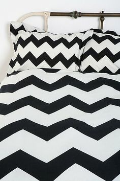 This would look so chic with a pop of color added!  Love! chevron bed shams