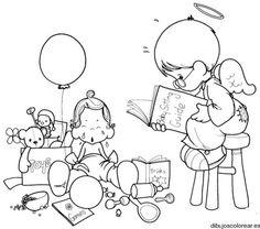 Dibujo de un ángel leyendo